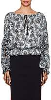 Robert Rodriguez Women's Orchid-Print Ruffled Silk Twill Dress
