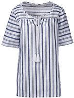 Classic Women's Petite Elbow Sleeve Linen Top-Midnight Indigo Stripe