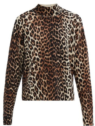Ganni Leopard-print Merino Wool-blend Sweater - Animal