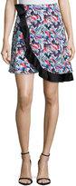 Prabal Gurung Wrap-Front Circle Skirt, Crimson Paint