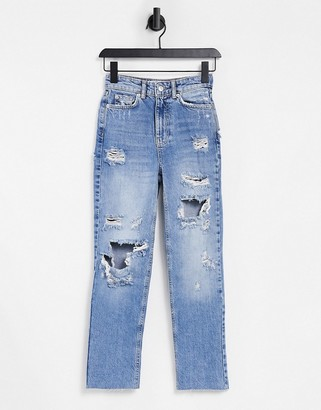 New Look ripped mom jeans in light blue