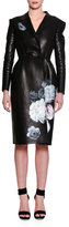 Alexander McQueen Hand-Painted Leather Coat, Black/Multi