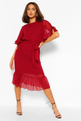 boohoo Dobby Mesh Tie Belt Full Sleeve Midi Dress