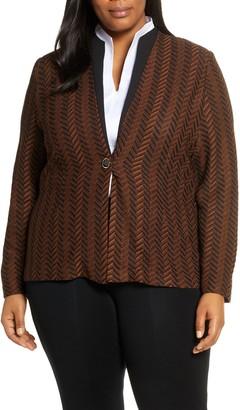 Ming Wang Collarless Knit Jacket
