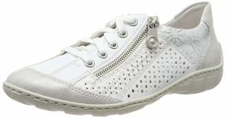 Rieker Women Lace-Up Flats M37G6 Ladies Trainer Sneaker Low Shoes Street Shoe Sporty Casual White-Silver/Silver / 80 39 EU / 6 UK