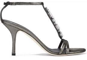 Giuseppe Zanotti Crystal-Embellished Metallic Woven Sandals