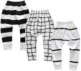 Mary ye Baby Unisex 3 Pack Elastic Jogging Ankle Pants(Baby)