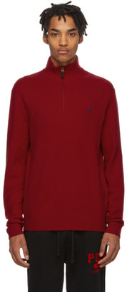 Polo Ralph Lauren Red Wool Half-Zip Sweater