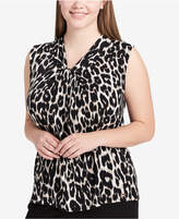 Calvin Klein Plus Size Knot-Neck Printed Shell