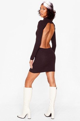 Nasty Gal Womens Open Your Eyes Ribbed Mini Dress - Black - 12