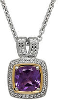 Lord & Taylor Amethyst, White Topaz, Sterling Silver and 14K Yellow Gold Pendant Necklace