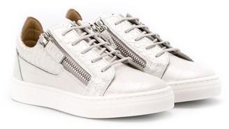 Giuseppe Junior Crocodile Skin Effect Sneakers
