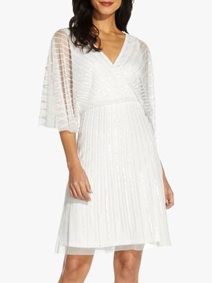 Adrianna Papell Beaded Flutter Knee Length Dress, Ivory