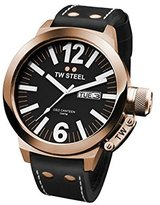 TW Steel Men's Rose Gold Tone Stainless Steel Case Ceo Canteen Quartz Black Dial Leather Strap