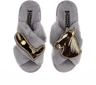 LAINES LONDON - Classic Laines Grey Slippers With Double Deluxe Brown Horse & Riding Boot Brooches