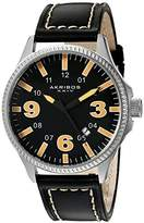 Akribos XXIV Men's AK833OR Quartz Movement Watch with Black Dial and Black with Cream Stitching Leather Strap