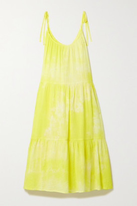HONORINE Daisy Tiered Tie-dyed Crinkled Cotton-gauze Dress - Yellow