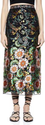 Alice + Olivia Maeve Embroidered Midi Slip Skirt