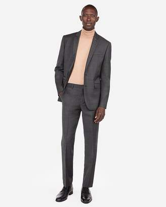 Express Slim Plaid Windowpane Wool-Blend Stretch Suit Pant