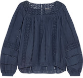 Sea Crochet-paneled Cotton-voile Top - Navy
