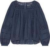 Sea Crochet-paneled Cotton-voile Top - Navy