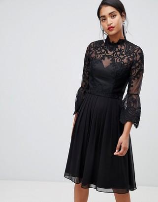 Chi Chi London lace skater dress in black