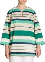 Lafayette 148 New York Women's Moria Striped Blouse - Grove Green, Size 1x (14-16)