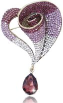 Ever Faith Vintage Style Horn Teardrop Brooch Purple Austrian Crystal N03034-5
