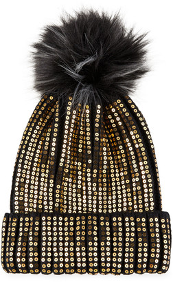 Heurueh Sequined Beanie with Faux Fur Pompom