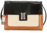 Badgley Mischka Janine Colorblock Leather Crossbody Bag, Black/White/Dove