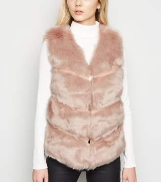 New Look Cameo Rose Faux Fur Gilet