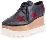 Stella McCartney Elyse Star Platform Oxford, Blue/Red