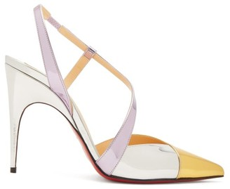 Christian Louboutin Platina 85 Slingback Leather Pumps - Gold Multi
