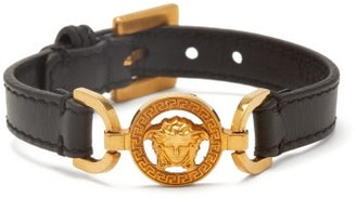 Versace Medusa Leather Bracelet - Womens - Black Gold