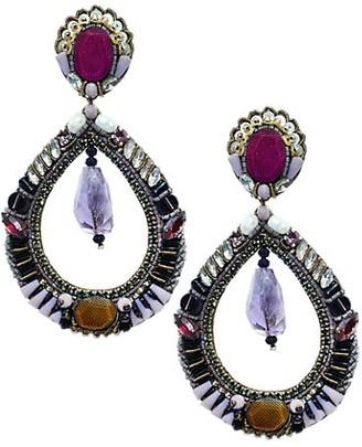 Ranjana Khan Swarovski Crystal & Amethyst Beaded Teardrop Clip-On Earrings