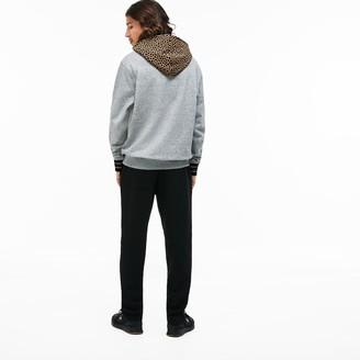 Lacoste Men's LIVE Leopard Print Hood Fleece Sweatshirt