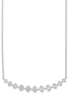 "Eliot Danori Silver-Tone Crystal Curved Bar Statement Necklace, 15"" + 2"" extender, Created for Macy's"