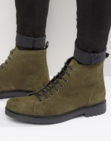 Asos Lace Up Boots In khaki Suede With Cleated Chunky Sole