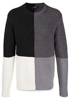 Theory Denton Crew Champion Merino Wool Color Blocked Regular Fit Sweater