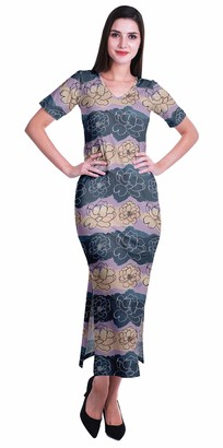 Moomaya Long Bodycon Maxi Dress for Womens ShortSleeve V Neck Printed Jersey T-Shirt Dress Burgundy