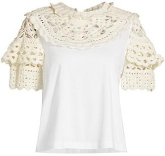 Sea Cleo Crochet Puff-Sleeve Combo T-Shirt