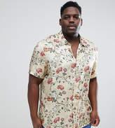 Asos DESIGN plus regular fit satin viscose shirt with floral design in ecru