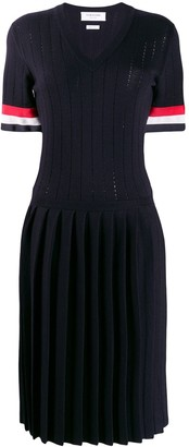 Thom Browne RWB Cuff Pointelle Stitch V-Neck Dress