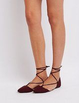 Charlotte Russe Lace-Up Pointed Toe Flats