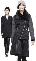 Calvin Klein Faux Leather Trim Wool Blend Coat