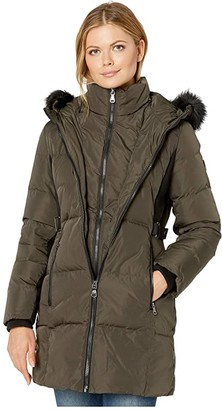Vince Camuto Hooded Heavyweight Down with Faux Fur Trim and Bib V29702X (Loden) Women's Clothing