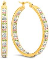 Multi-Colored Simulated Diamond Embellished Hoop Earrings