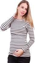 Sweet Mommy Stripe Long Length Maternity and Nursing Tee Shirt Long Sleeve WHBKM