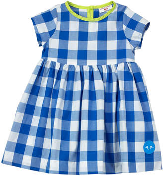 Smiling Button Gingham Short-Sleeve Dress w/ Neon Trim, Size 18M-6