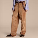 Burberry Wide-leg Salt-washed Velvet Trousers , Size: 54, Beige